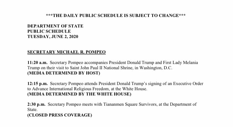 .@secPompeo meets with Tiananmen Square survivors at 2:30 pm today, per @StateDept.