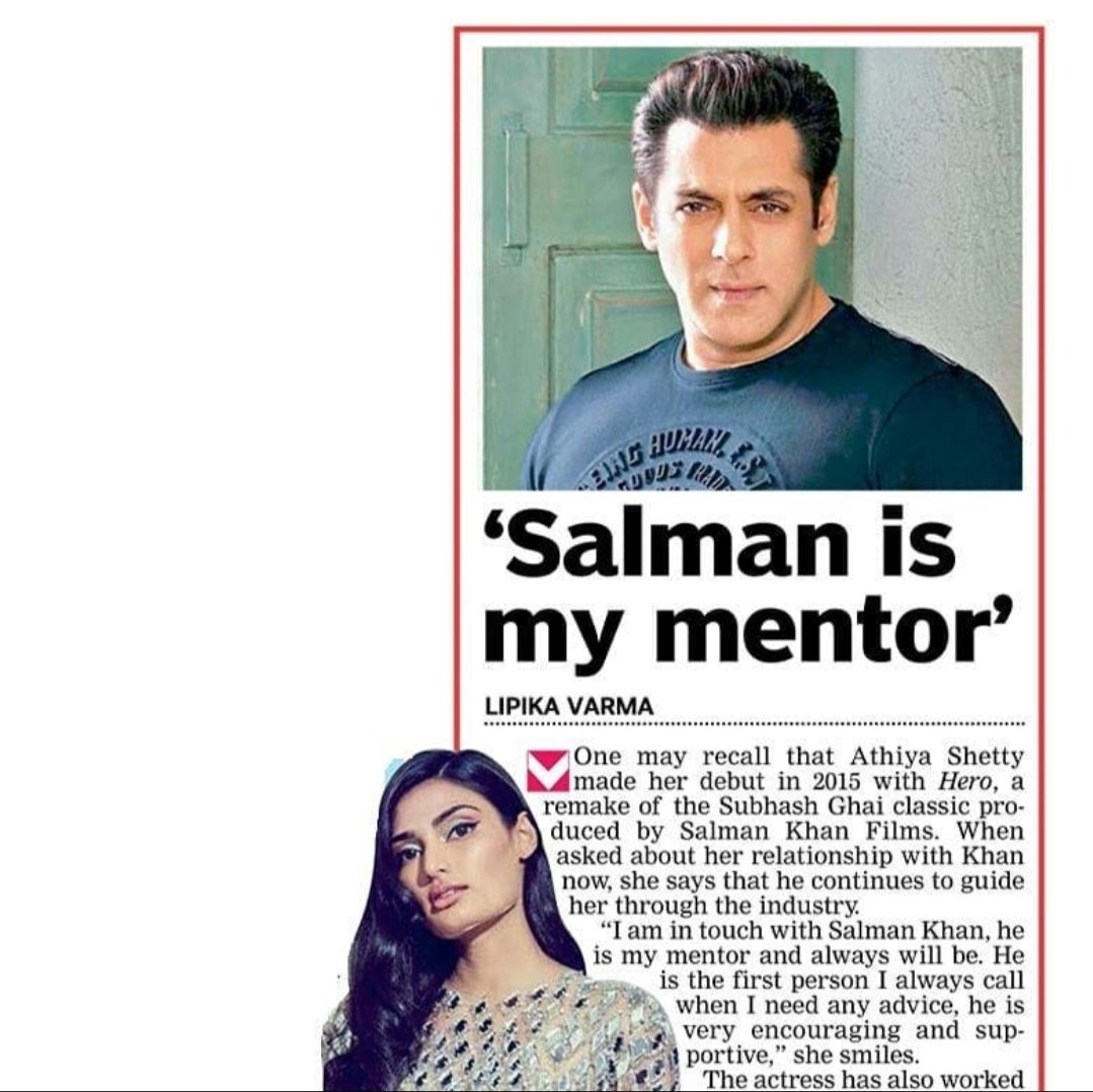 Athiya Shetty sayed Salman is my mentor.  @BeingSalmanKhan @theathiyashetty  #athiyashetty #salmankhan #salman #skfilmsofficial #hero #bollywoodfashion #bollywoodnews #bollywood #latestnews #news #bollywoodnews #bollywoodupdates #bollywoodfacts #love  #photooftheday