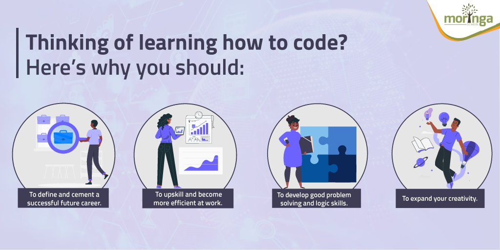 Learning how to code will give you skills you can use beyond the tech world. Here are some good reasons you should learn how to code. Reach out to us if you have any questions  #MoringaSchool #SoftwareDevelopment <br>http://pic.twitter.com/Id1YbMZhDR