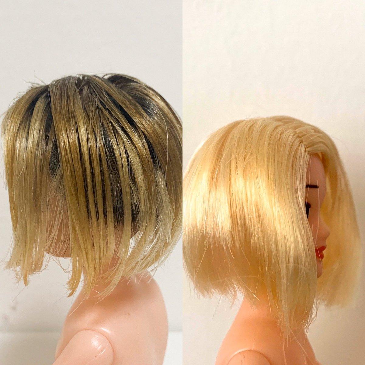 test ツイッターメディア - 頭髪の着色に成功。自分の頭髪を再現しています。右が着色前。 #100均一のドールを自分に寄せる #ダイソー https://t.co/cbhSW8nhqz