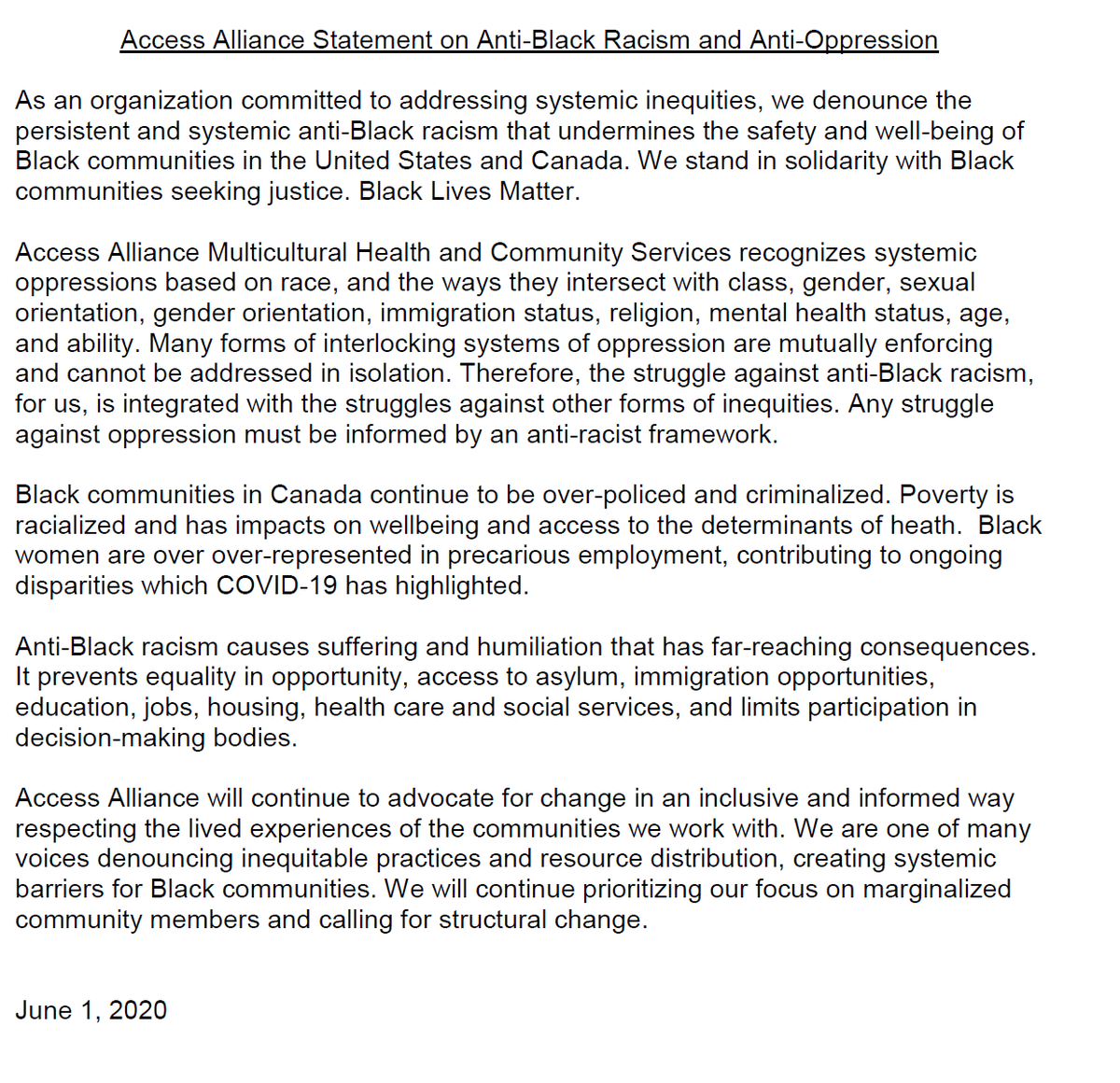 🔴As an organization committed to addressing systemic inequities, we denounce the persistent and systemic anti-Black racism that undermines the safety and well-being of Black communities.  🟠Read & Share: 🟢Access Alliance Statement on Anti-Black Racism and Anti-Oppression