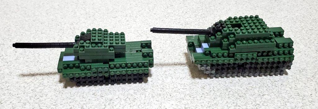 test ツイッターメディア - |ω・)チラッ 戦車だけ作り直しました。 並べたらなんかボリューム不足に感じたのでひと回りだけ大きくするついでに形状も寄せてみたの(*´ω`*) ボールジョイントの都合で砲塔の後ろに穴が空いちゃったけどここはまぁいいよね? これ以上形状崩したくないしw(・∀・;)  #プチブロック #ダイソー https://t.co/SdiY4IPdSa