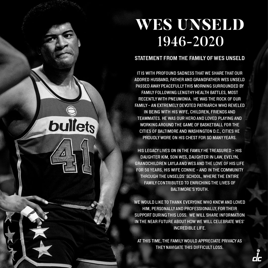 Statement from the family of Wes Unseld.  Rest easy, Wes ♥️ https://t.co/NwEtuofgG9