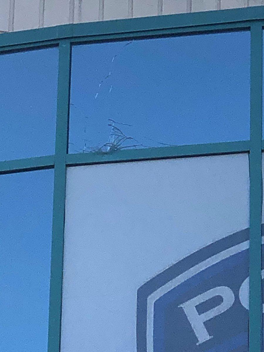 Arlington police also believe rocks were thrown last night, cracking one of their window panes. @FOX4 @GoodDayFox4