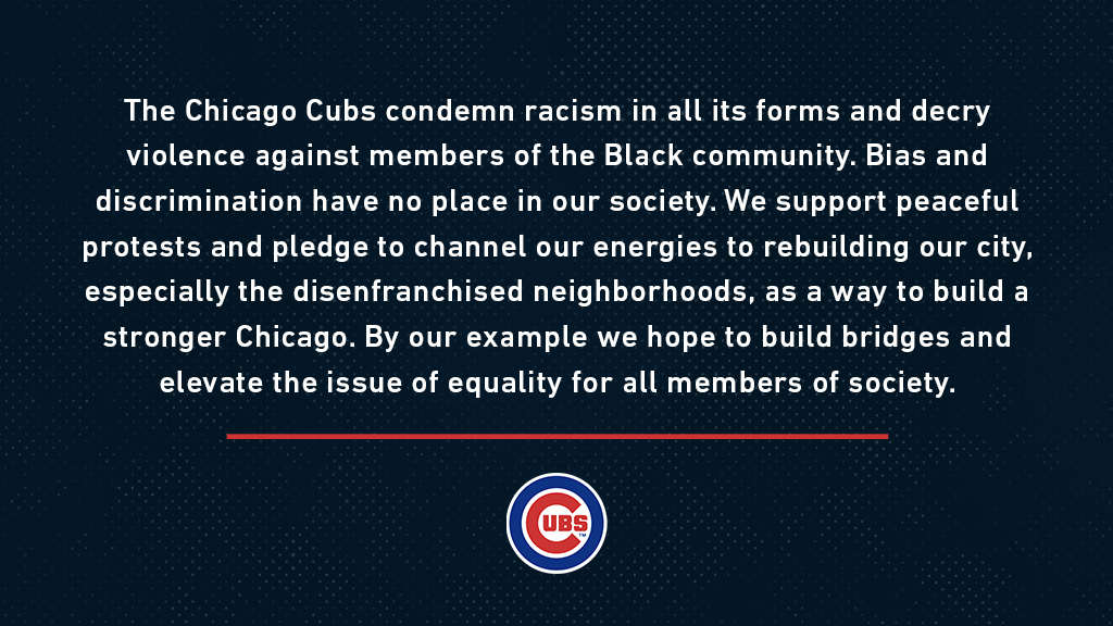 A statement from the Chicago Cubs. https://t.co/11FWFWR1bE