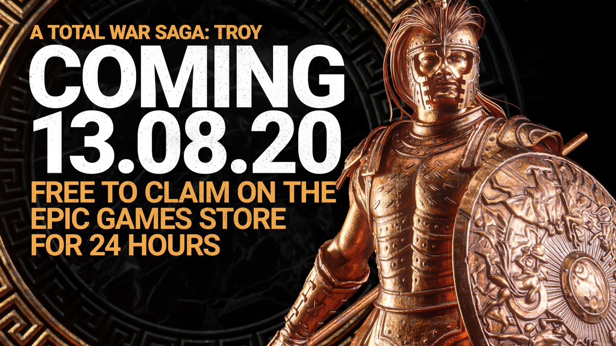 A Total War Saga: TROY will be released on the Epic Games Store on 13 August 2020 - and will be free to keep if claimed within the first 24 hours of release:   Check out the trailer here: