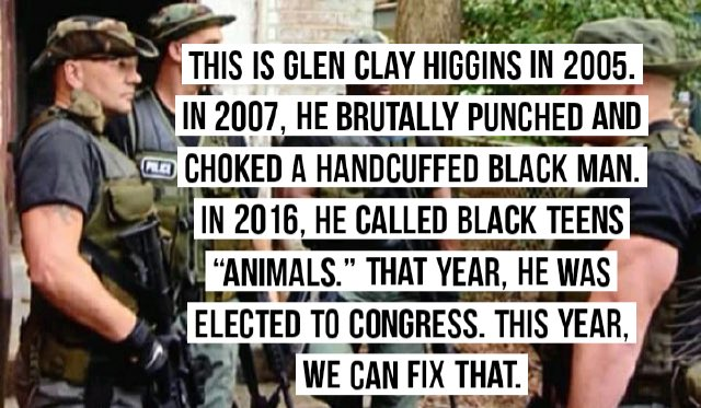 As @RepClayHiggins kicked a handcuffed Andre Richard on the ground, Richard cried out that God never sleeps & that Higgins would have to answer for his actions. Clay punched him in the face & choked him. Help me get this man out of congress.secure.actblue.com/donate/firehig…