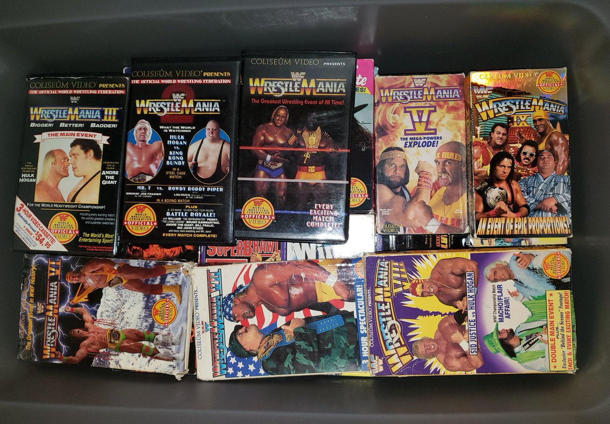 My childhood in a plastic bin!! Love my classic #WWF #VHS collection. I am very proud of this collection. The memories attached to these tapes does not wear a price tag!  #Wrestling #WrestlingTapes #Retro #TheGreatHeroBasementPurgepic.twitter.com/1X3uyviokD