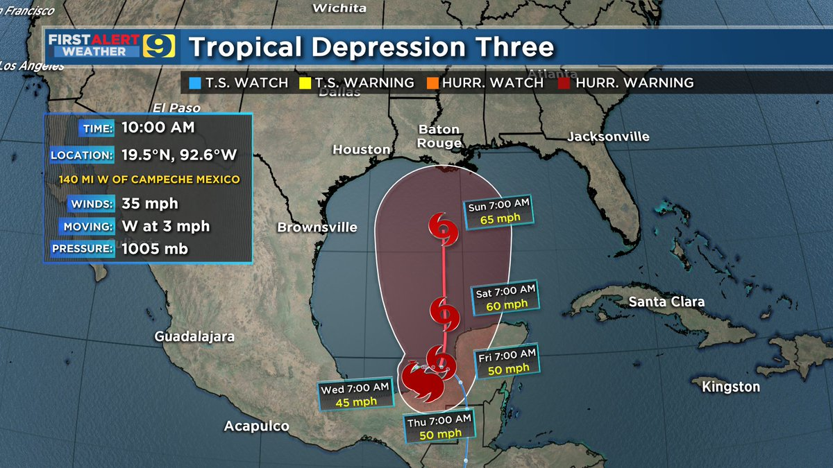 JUST IN: 10 AM advisory for T.D. #3..not #Cristobal yet. Latest forecast track indicates potential for a strong tropical storm a couple hundred miles S of the Louisiana coast by Sunday morning, but need to emphasize uncertainty remains HIGH. #LAwx  More >>  http:// wafb.com/hurricane     <br>http://pic.twitter.com/Vdbajeqptt
