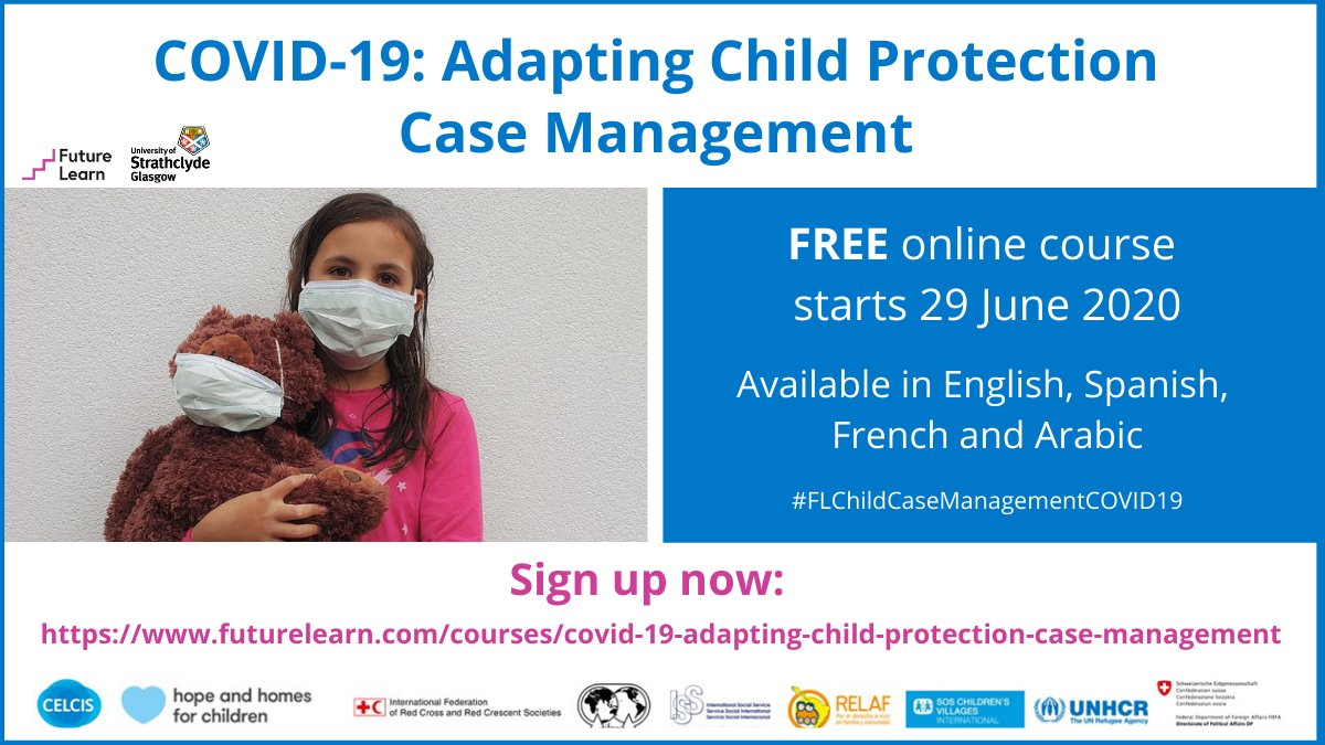 📅👩💻STARTS 29 JUNE: a NEW free online course, COVID-19: Adapting Child Protection Case Management, takes just three hours to complete and is available in four languages. Sign up now: https://t.co/fGBIqtiRdN #FLChildCaseManagementCOVID19 #COVID19 https://t.co/P5DEAUJM9G