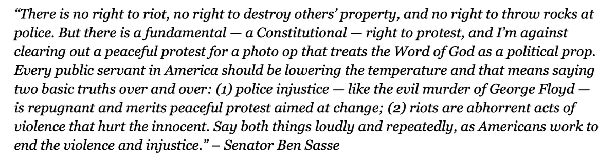 This statement, from @BenSasse is very good. It condemns police injustice AND rioting, loudly and clearly. It respects the constitutional right to peaceful protest. It also rightly condemns the president's shameful photo op yesterday. https://t.co/vmnJAiYLiU