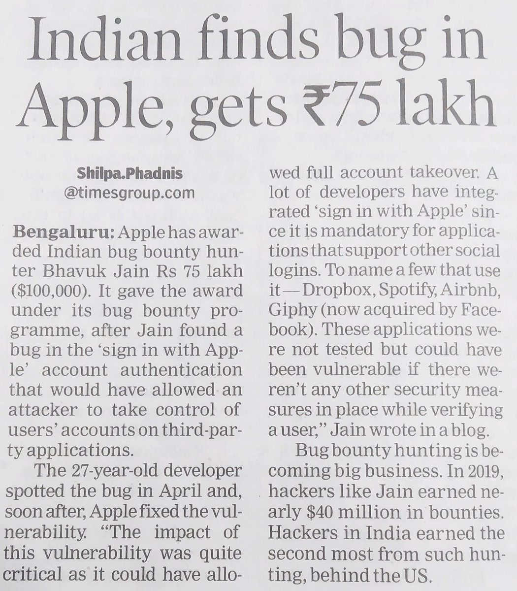 #Indian finds #bug in #Apple and gets ₹75 #lakh   #cybersecurity #hacking #security #technology #hacker #infosec #tech #ethicalhacking #programming #cyber #socnaukri #cybercrime #malware #python #privacy #it #iot #cyberattack #coding #dataprotection #hack #ethicalhacker pic.twitter.com/iuPGRvtxHJ