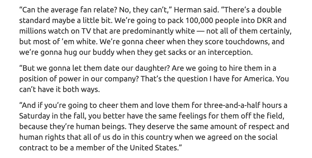 Incredible quote from Tom Herman to @BDavisAAS on WHY it is so important to speak up.🤘