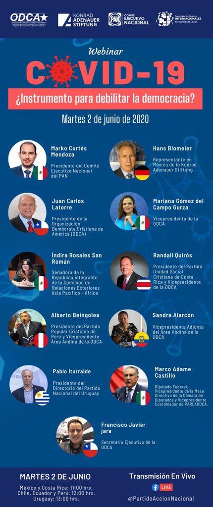 """🔴#EnVivo  Webinar """"#COVIDー19, ¿instrumento para debilitar la democracia?"""" organizado por la @ODCA, la @kasmexiko y @AccionNacional.  Síguelo en #FacebookLive: https://t.co/FK6ipNb1i1 https://t.co/RRCuZjHq8G"""