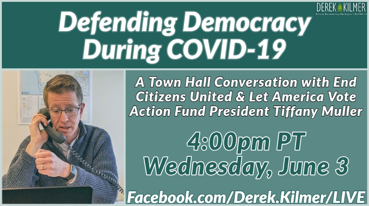 In these unprecedented times, we should be doing everything we can to strengthen the voice of the American people in our democracy by making it easier to vote. Im hosting a town hall to discuss how to ensure no American has to choose between their health & their right to vote!