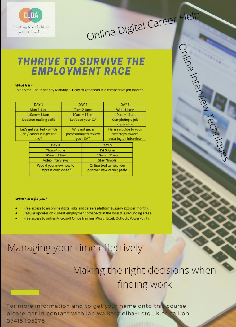 THHrive to Survive the Employment Race! @OurELBA & @THHomes present a FREE 5-day online #employment skills training workshop! Sessions have already started, so get involved now! Contact: ian.walker@elba-1.org.uk / 07415 105278 #careers #training #skills #digital #interview #CV