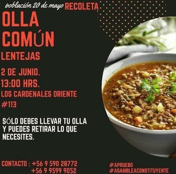 Hoy #Martes se comen lentejas en la #20deMayo #Recoleta #OllaComunDelPueblo #OllaComunpic.twitter.com/URartv7Nuf