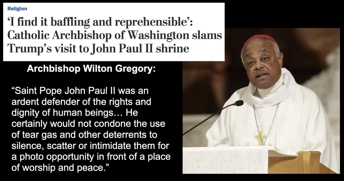 Our Dear Leader engages in another sorry attempt to associate himself with a faith he does not practice and which he certainly does not understand. Archbishop Gregory saw right through it. washingtonpost.com/religion/2020/…