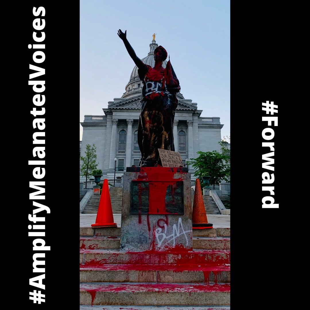Powerful image from last night's protest in Madison. Nobody was injured or killed to deliver this message. America isn't going to fix its broken system of the past 400 years in one week...but we should try. . . #AmplifyMelanatedVoices #Forward https://t.co/9OHPgBIL0Z