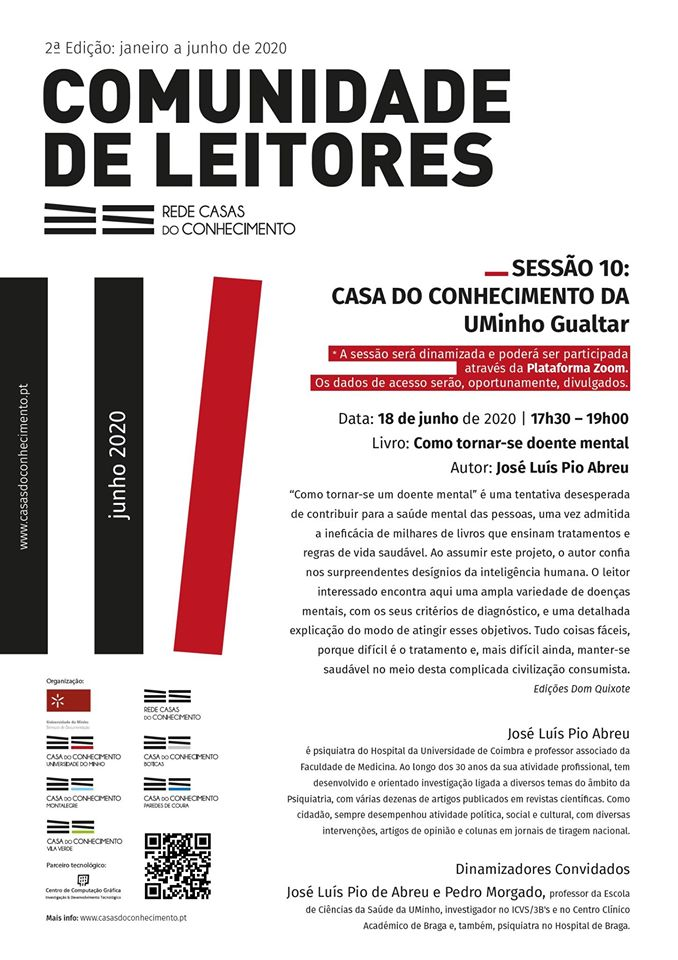 """A 10ª SESSÃO DA COMUNIDADE DE LEITORES da Rede Casas do Conhecimento, marcada para o dia 18 de junho , será dedicada ao livro """"Como tornar-se doente mental"""", de José Luís Pio Abreu.  INSCRIÇÕES EM: https://t.co/JT1QbsC1F6 + info: https://t.co/f6MxoWfri1 https://t.co/B244AO4Wr2"""