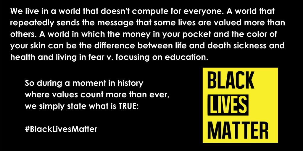 During a moment in history where values count more than ever, we simply state what is TRUE:   #BlackLivesMatter <br>http://pic.twitter.com/NM5SmB2ajz