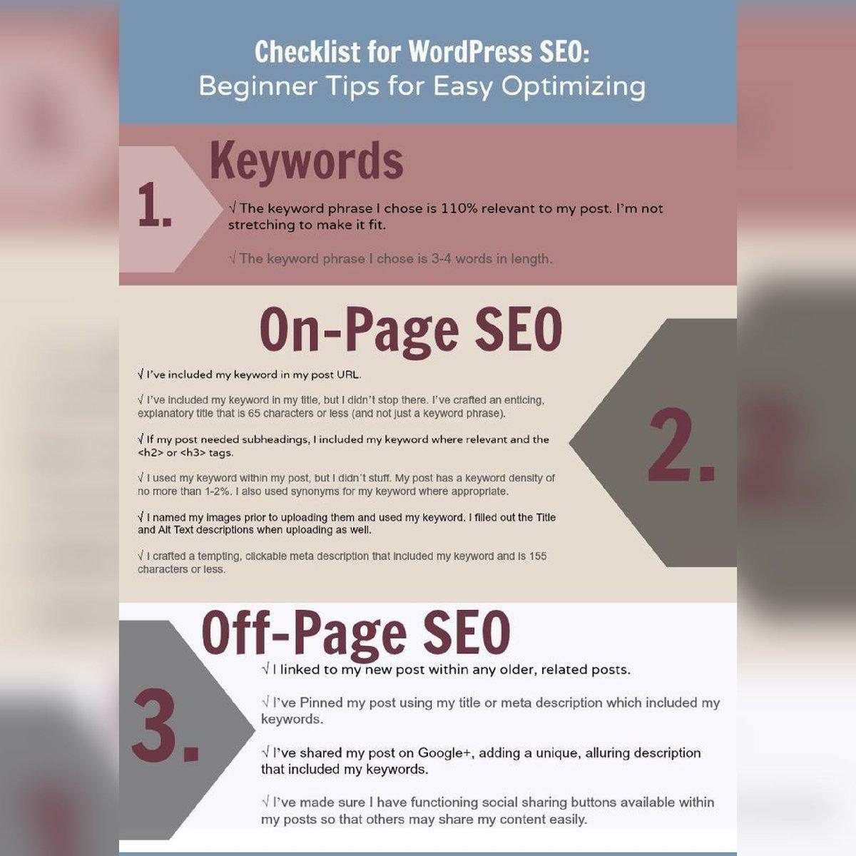 Checklist for Wordpress SEO.  Beginner Tips for easy Optimization. Dm for more @gdigitalsolution  . #digitalmarketing<br>http://pic.twitter.com/Rec1YsQ6ce