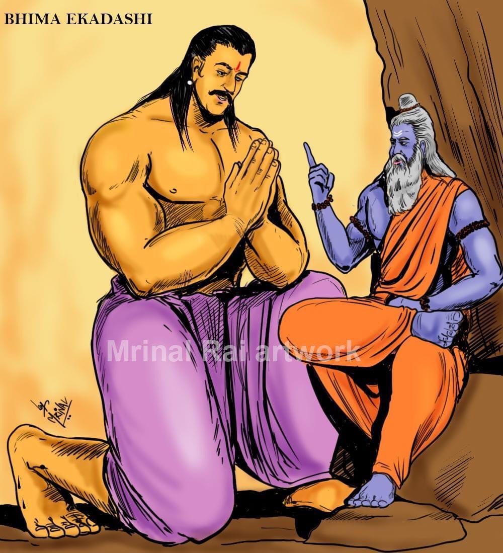Did you know that when pandav Bhima asked sage Vyasa about how could he get merits of all ekadashi as being a food lover he didnt fast, Vyasa asked him to observe #NirjalaEkadashi fasting, its also called #bhimaekadashi #sketch #illustration #NirjalaEkadashi2020 https://t.co/VAc5DAfrnT