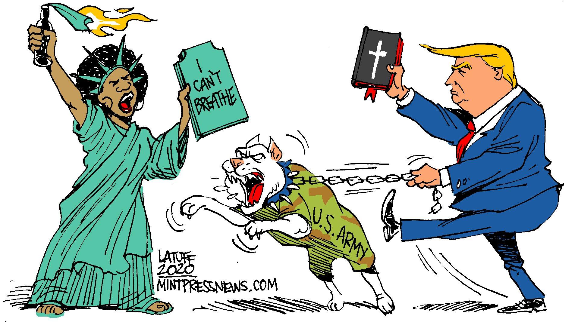 Med bibel og kamphunder mot svarte og undetrykte i USA. Illustrasjon ved Carlos Latuff.