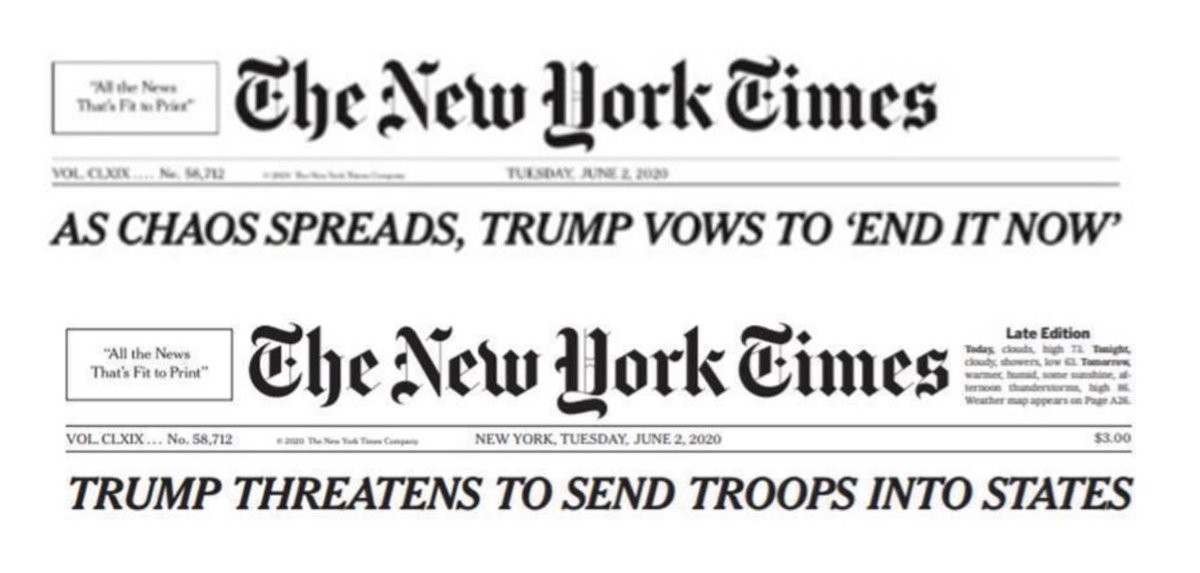 After left-wing criticism, the New York Times bowed to the Biden campaign and changed their headline about President Trump's pledge to end chaos plaguing Democrat-run cities! https://t.co/NcHbLwM5jd
