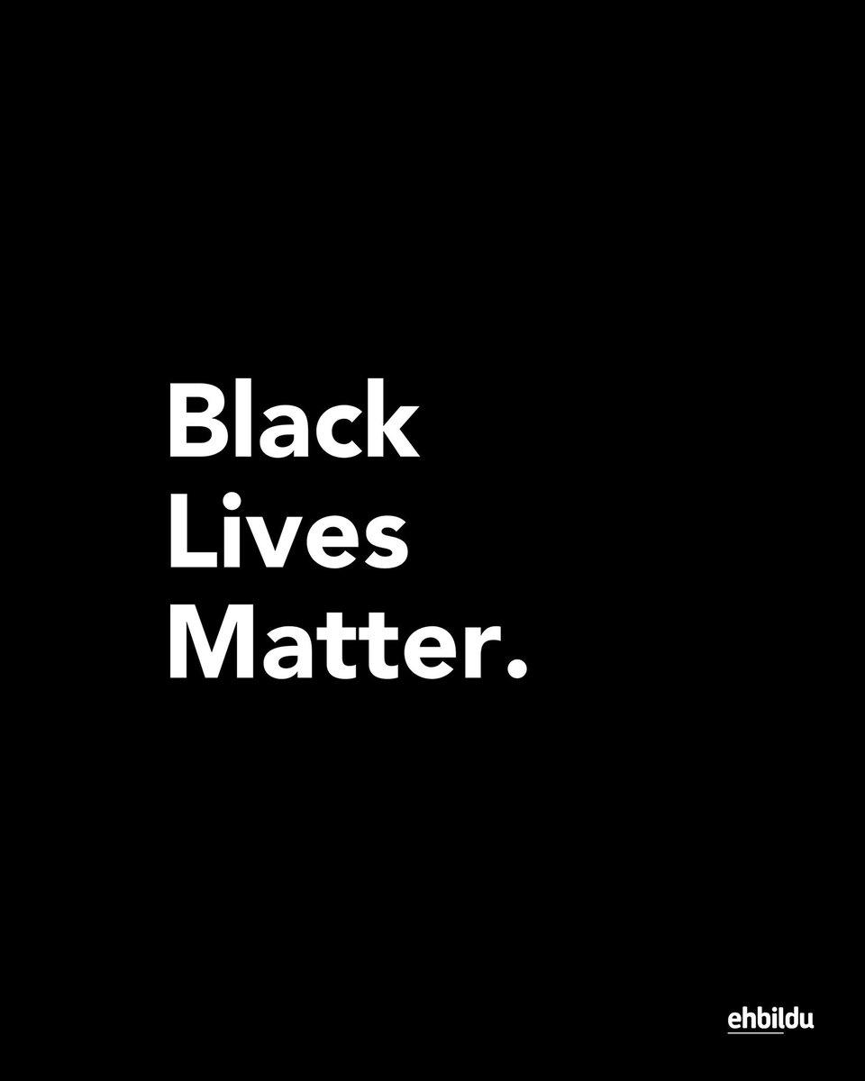 ✊🏾 Denunciamos la violencia racial y la represión vivida en los últimos días en Estados Unidos. Este tipo de acciones no son aceptables en nuestra sociedad.  ¡Queremos vivir en una Euskal Herria sin ningún tipo de exclusión!  #BlackLivesMatter #BlackOutTuesday  #WeAreAntifa https://t.co/c5UEwdDIMp