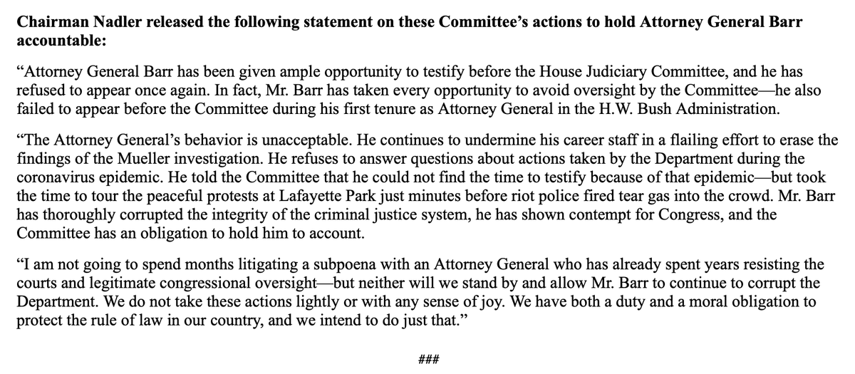 "Nadler and Judiciary announce steps to counter Bill Barr's spurning of Congress, including hearings with whistleblowers, an amicus brief to keep Michael Flynn in prison, and ""legislation to slash the budget of the Attorney General's personal office at DOJ by $50 million."" https://t.co/1CBnoTtoDv"