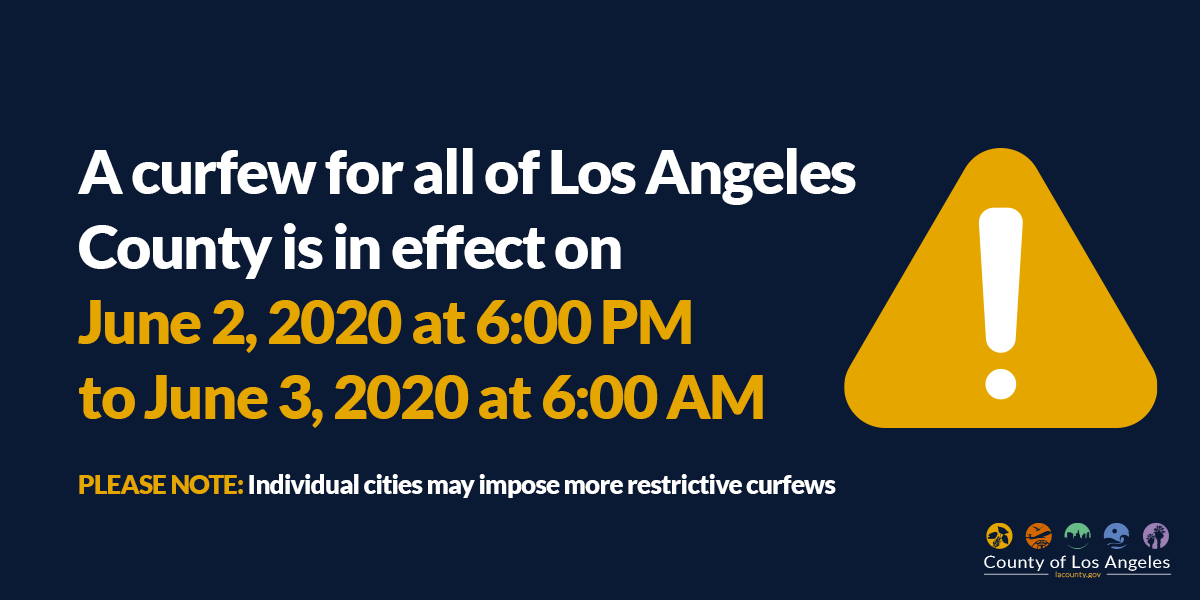 LA Countywide curfew is in effect today June 2 at 6PM to June 3 at 6AM. Curfew does not apply to persons voting in today's Special Elections in @cityofcommerce & @ElRanchoSchools in Pico Rivera. Some cities may set stricter curfews. Visit https://t.co/p46PbDhrCO for more info. https://t.co/9IlRV7HsNT