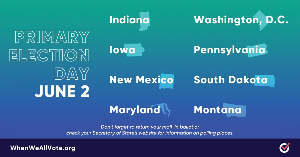 Do you have friends or family in Indiana, Iowa, New Mexico, Maryland, Washington DC, Pennsylvania, South Dakota, or Montana?  Remind them to drop off their #VoteByMail ballots NOW. https://t.co/5r2RR0tkb7