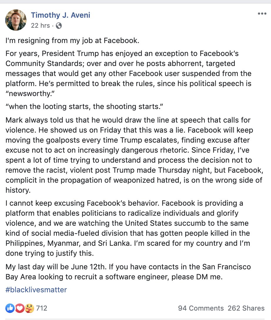 """A Facebook software engineer is resigning over Zuckerberg's recent handling of Trump's posts:  """"I cannot keep excusing Facebook's behavior... I'm scared for my country and I'm done trying to justify this."""" https://t.co/q4YkKZpuSo"""