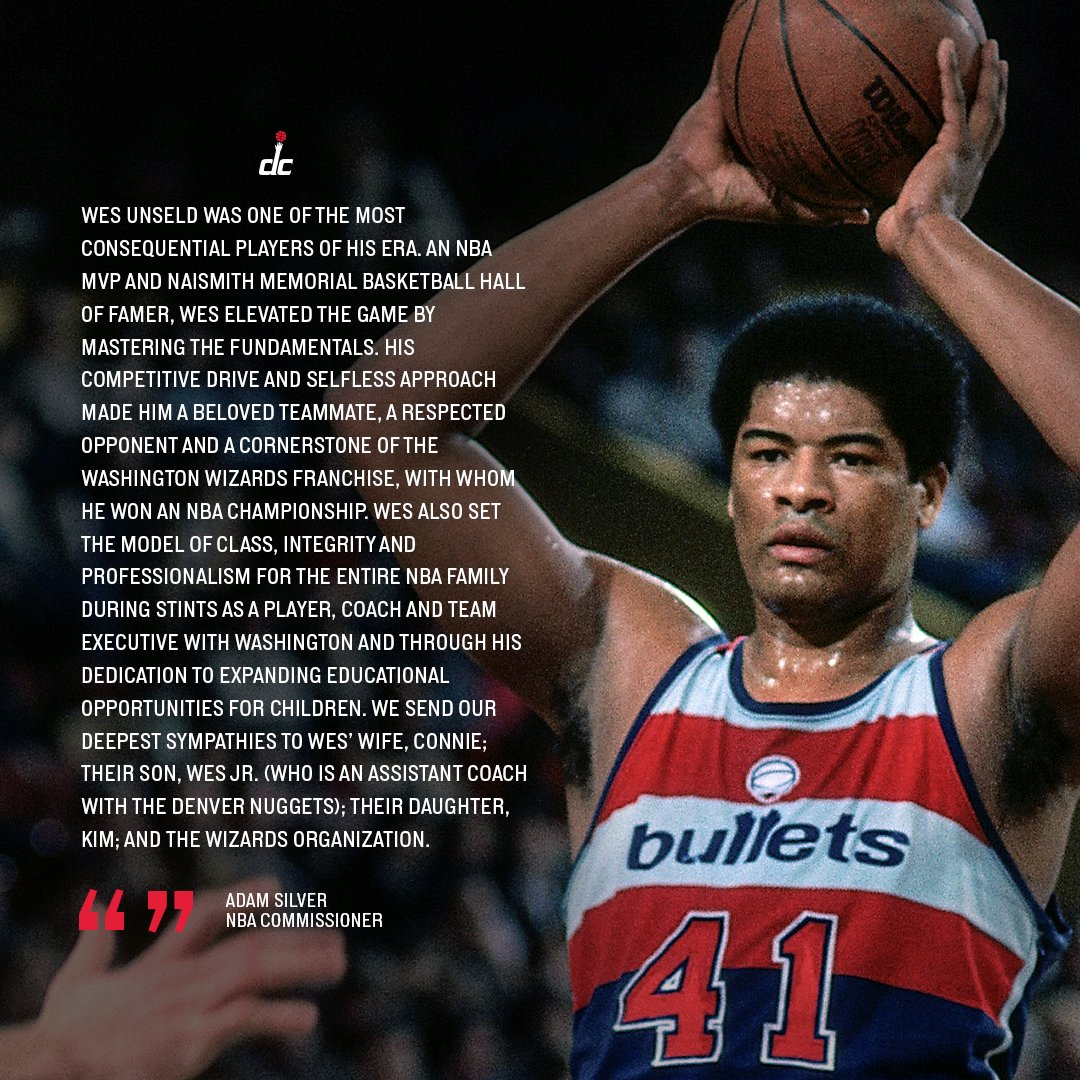 Statement from @NBA Commissioner Adam Silver on the passing of Wes Unseld. https://t.co/JGn3UqwvEZ