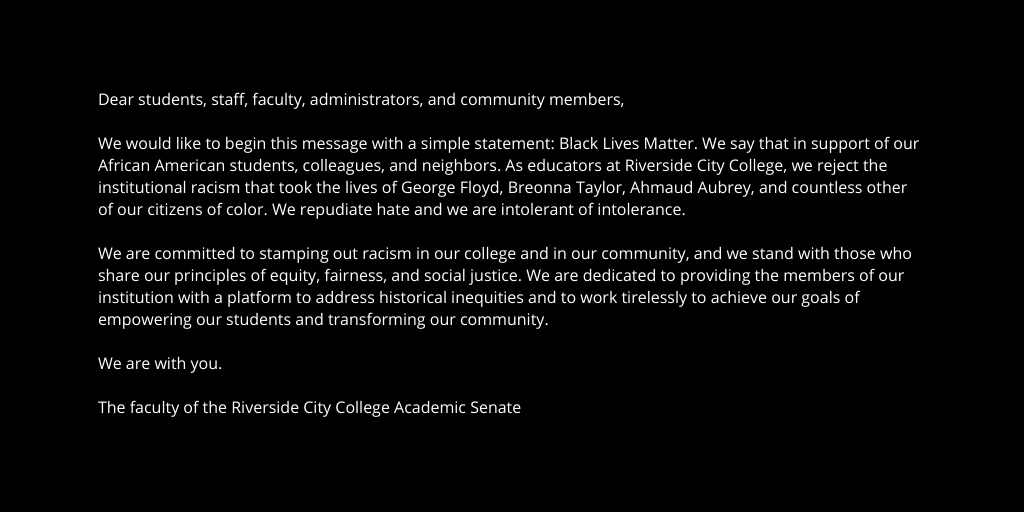 The RCC Academic Senate wants you to know: Black Lives Matter. #BlackOutTuesday https://t.co/R2Xu75r3jf