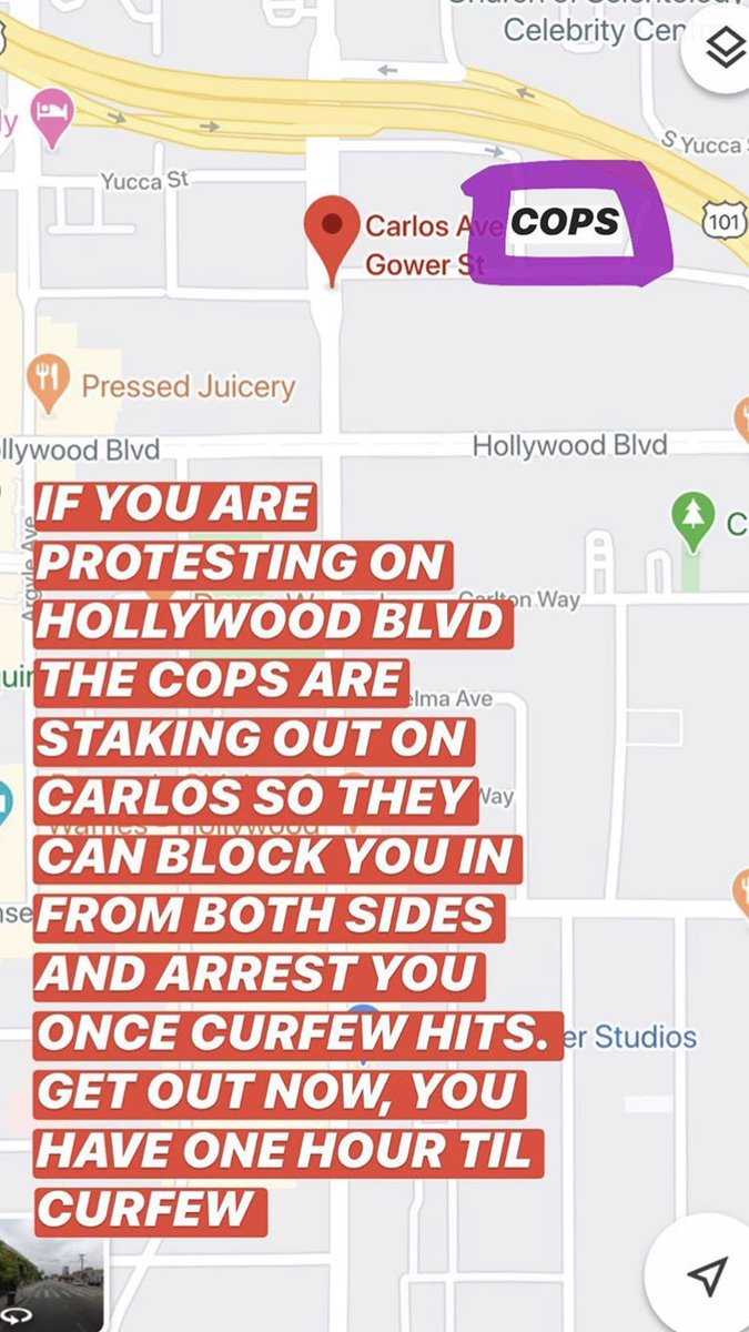 If you are on the Hollywood Blvd protesting, curfew is coming quickly, do not run in this direction, they are camping out hard, hundreds of them! Stay safe. #HollywoodBlvd #Hollywood https://t.co/021MUKOUkR