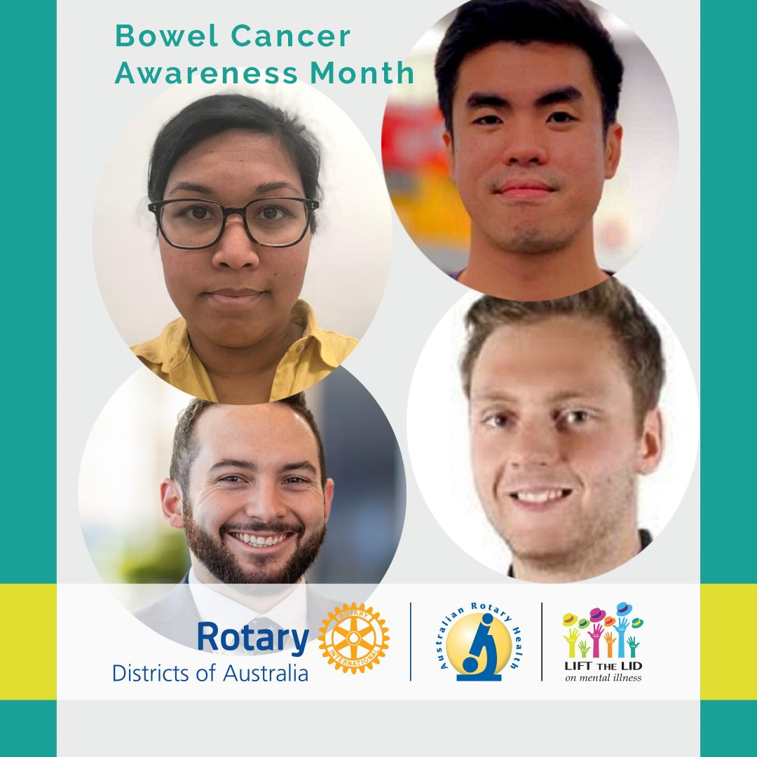 June is #BowelCancerAwarenessMonth.   Australian Rotary Health is currently funding four Funding Partner PhD Scholarships focussed on Bowel Cancer Research. We appreciate all of them for doing this very important work.   #Bowelcancer #research #Phd #bowelcancerresearch #rotary https://t.co/8l3SSV7dXz