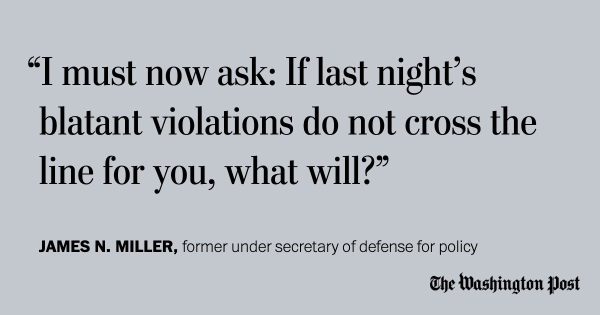 @PostOpinions Secretary Esper, you violated your oath in aiding Trump's photo op. That's why I'm resigning. — James N. Miller wapo.st/2ACOw1e