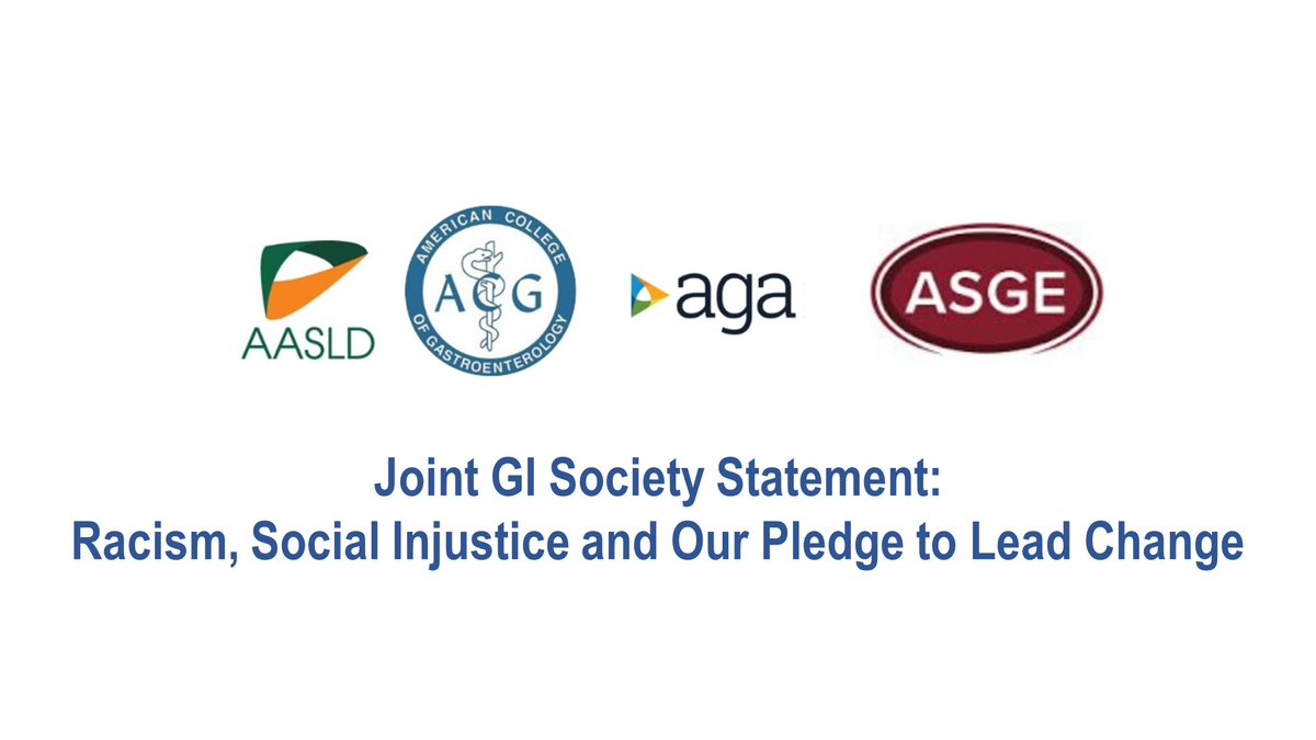 With this joint statement issued by the 4 US GI societies, the entire GI community condemns racism & social injustice and pledges to lead change among our community of healers. As medical professionals, we must support not only physical wellbeing, but biopsychosocial wellbeing.