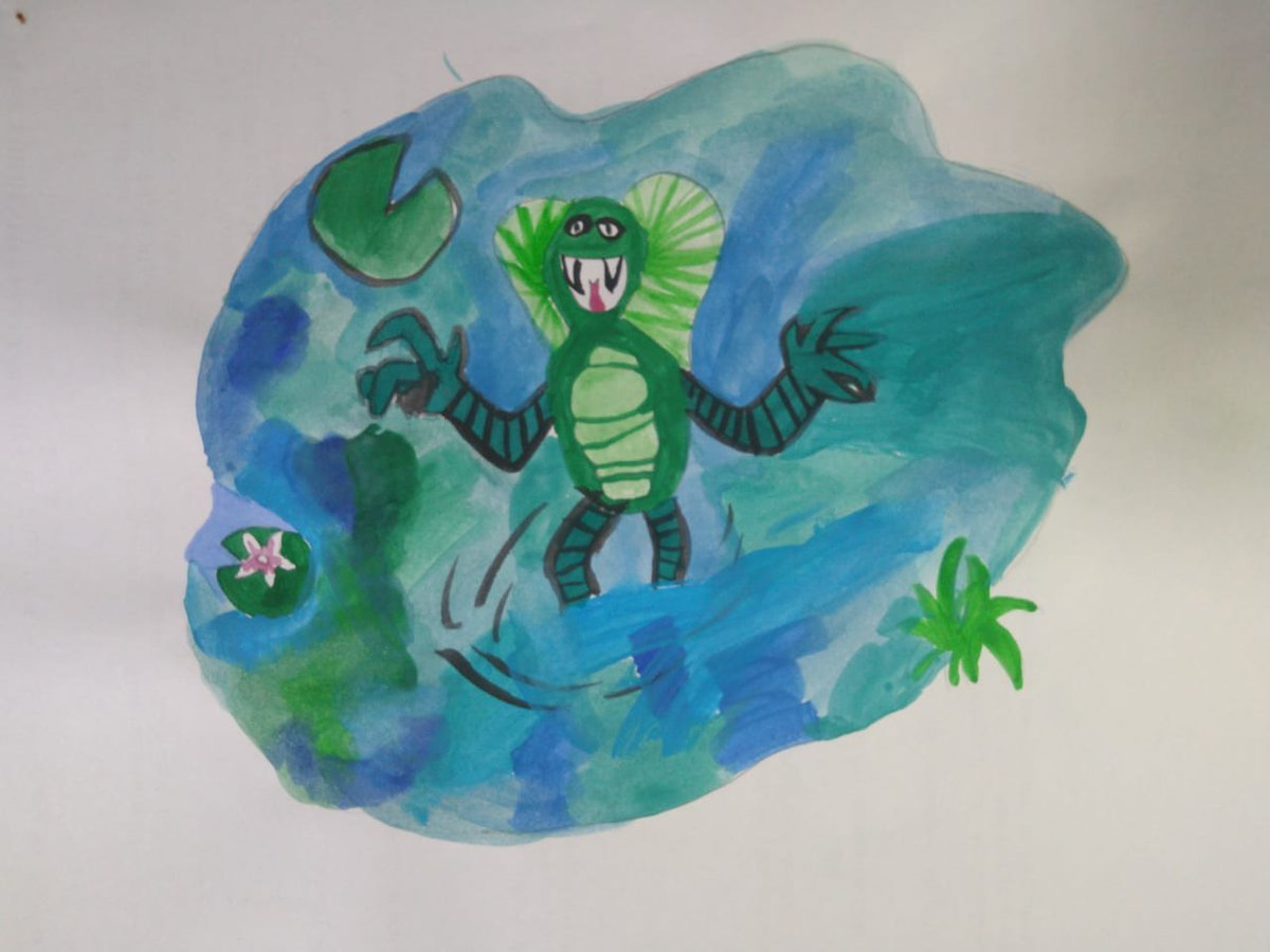 Luana, I LOVE this aquatic monster in his pool on the marsh! This is a really accomplished painting and I especially like the finny ruff and the clever way you've made it seem as though he's really standing in water! #TheIckabog