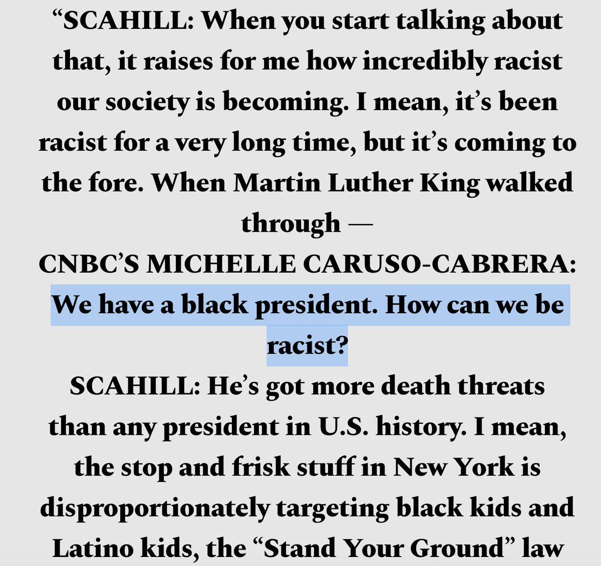 """In 2012, @MCaruso_Cabrera went on an HBO show to declare, """"We have a black president. How can we be racist?"""" That started an argument with my colleague @jeremyscahill   Now she's running against @AOC to represent Queens and the Bronx."""
