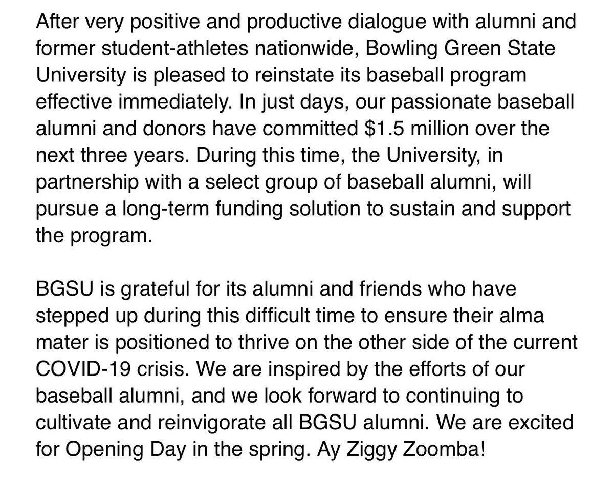 Official announcement from BGSU on bringing the baseball program back: