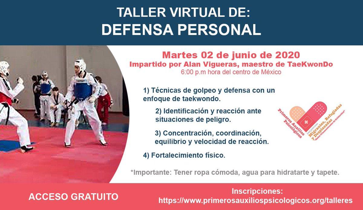 Hacer ejercicio es una estrategia para mitigar la ansiedad y el estrés en la cuarentena. Te invitamos al taller de Defensa personal con un maestro profesional de Taekwondo, todos los martes de junio. Ihttps://www.primerosauxiliospsicologicos.org/talleres  #HablemosDeSaludMentalpic.twitter.com/52xe4HKfoN