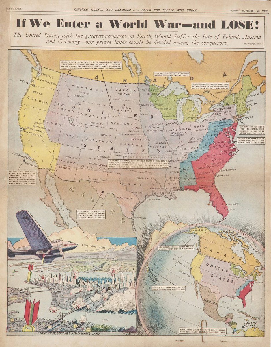 Felt like a map today. This one, from the November 28, 1939 edition of the Chicago Herald and Examiner, speculates how the country might be divided up in the event the Axis  prevailed in WW2. #ww2history #oldmaps #ww2 #antiquemaps<br>http://pic.twitter.com/MwWwqsCAlD