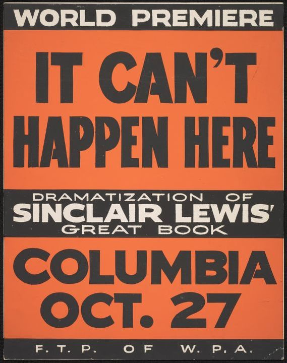 And turned into a play at the height of the Depression, staged simultaneously in 21 cities, by the wonder that was the Federal Theatre Project. Oct 1936. Sinclair Lewis had to be locked in a room & given endless coffee as he was soused. https://twitter.com/emilybell/status/1267888812925038594…pic.twitter.com/Bv5HMZvmKb