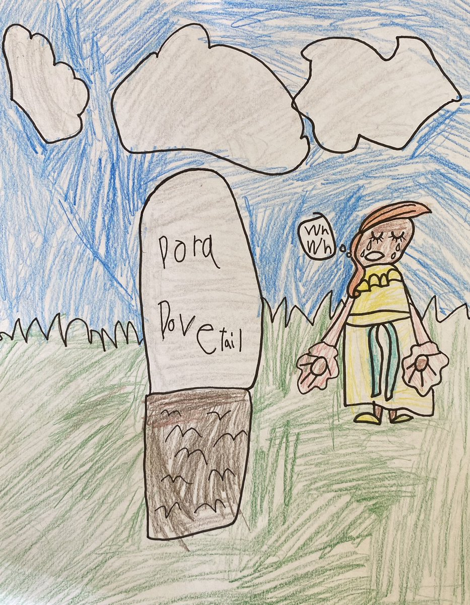 Elliott, this is an AMAZING picture and it's very hard that believe you're only 5! You've really put a lot of emotion into it and I love how you've drawn the grave and the very sad Daisy 💔 #TheIckabog