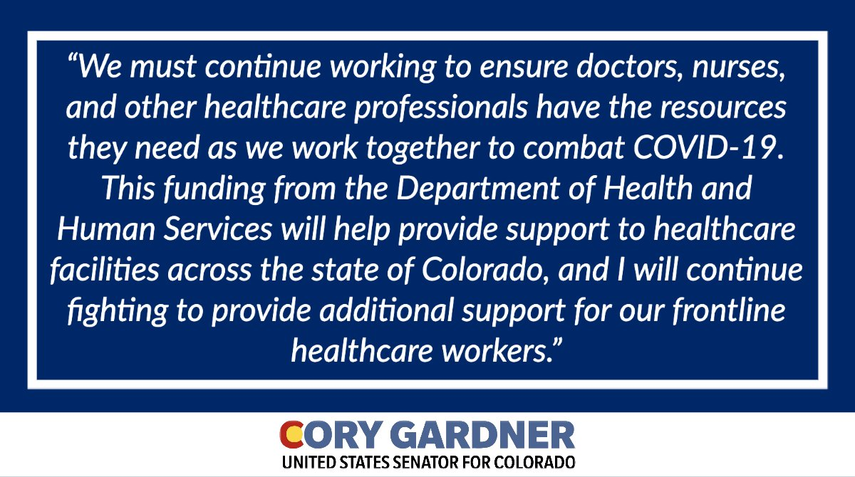 Community Health Centers play a vital role in providing critical care to Coloradans. I'm pleased to see $20.2 million in grants from @HHSgov delivered to Community Health Centers across Colorado. Learn more here ➡️ bit.ly/300f4Em