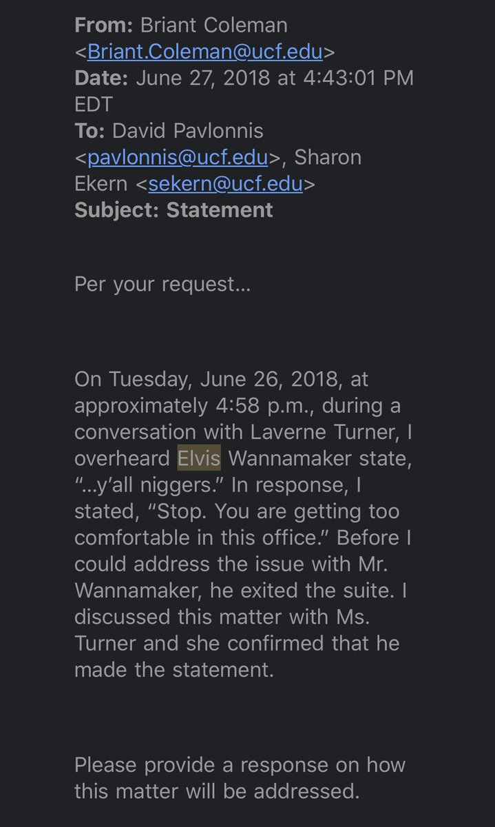 If this is true, why is the white man who called blacks NIGGERS and The help still working in Maribeth Ehasz's office???? You did nothing to protect employees & retaliated against those who spoke up! No justice! No peace! @UCFCartwright @UCFOIE @UCFAudit @RepValDemings @OCFLMayorpic.twitter.com/TRMNKZCtZX