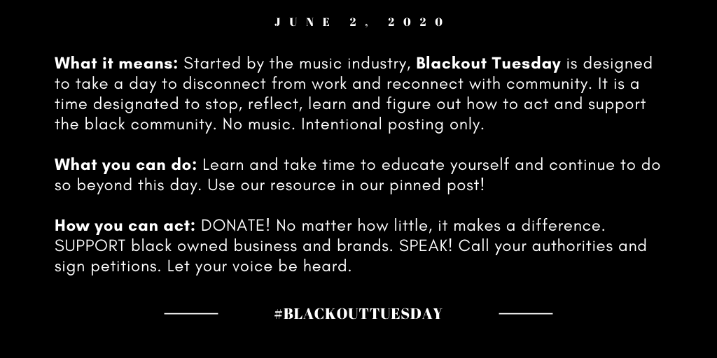 Blackout Tuesday is a moment to lean in & amplify voices of the black community. To keep things simple, https://t.co/PkSH3P97Jn is a streamlined version of #blacklivesmatter content. It's totally okay to be overwhelmed, but don't let those feelings keep you from taking action! https://t.co/vScyO5QmGd